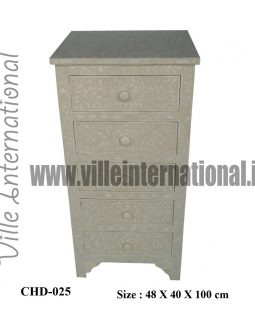 Bone inlay tall boy chest of drawer with five drawers